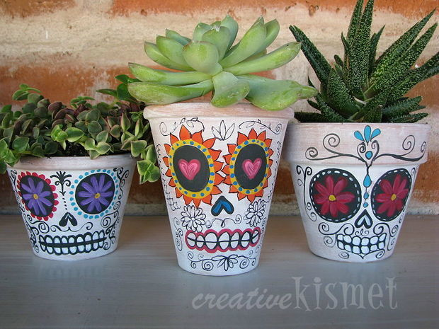 Halloween Party Decorations Ideas - plants potted in skulls